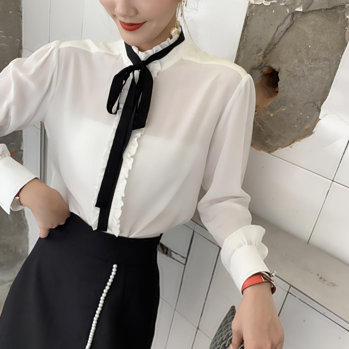 法系S~2019早秋新款白色长袖通勤真丝衬衫1oo%桑蚕丝蝴蝶结可拆卸