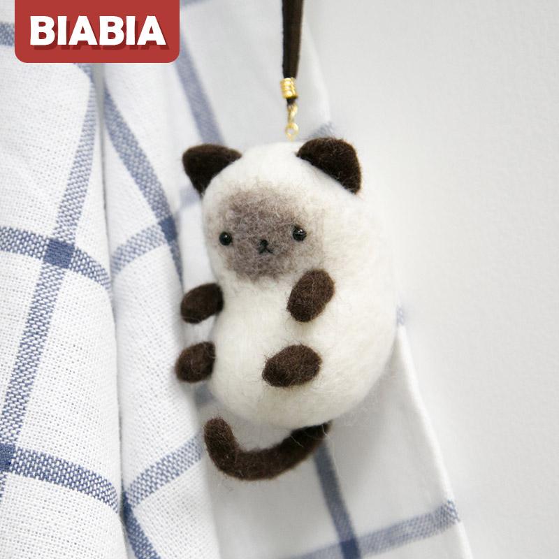 Biabia羊毛毡戳戳乐diy材料包情侣手工制作礼物包邮小猫暹罗猫咪