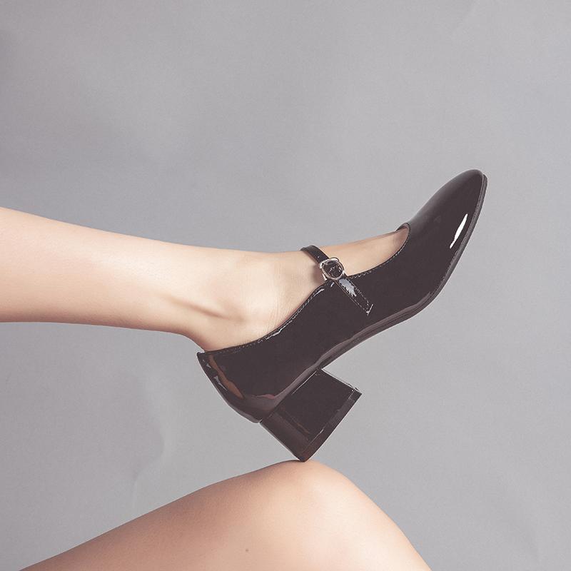 漆皮赫本鞋女新款黑色玛丽珍鞋女复古中跟粗跟单鞋女2019秋款百搭