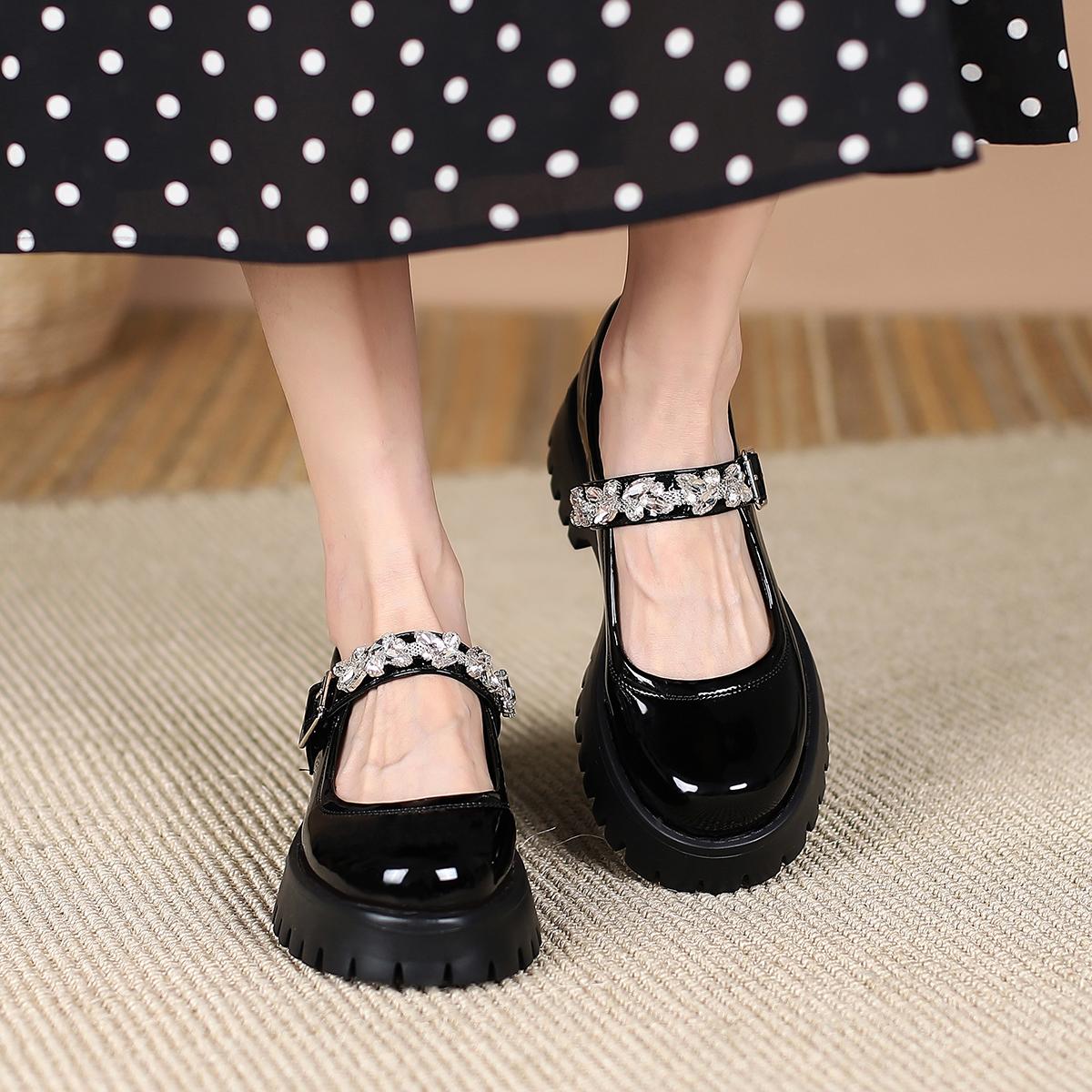 半曲水钻玛丽珍鞋小皮鞋女夏jk软妹2021新款厚底单鞋女圆头松糕鞋