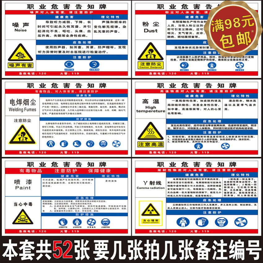 Factory occupational hazard notification card chemical sign dangerous goods warning board safety warning board
