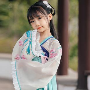 旗鉑女童漢服兒童抖音超仙襦裙古裝漢服裙中國風唐裝小女孩連衣裙