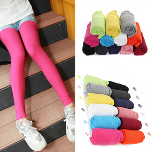 Korean version of the candy colored full process vertical stripes leggings pantyhose child fall trousers casual pants tide