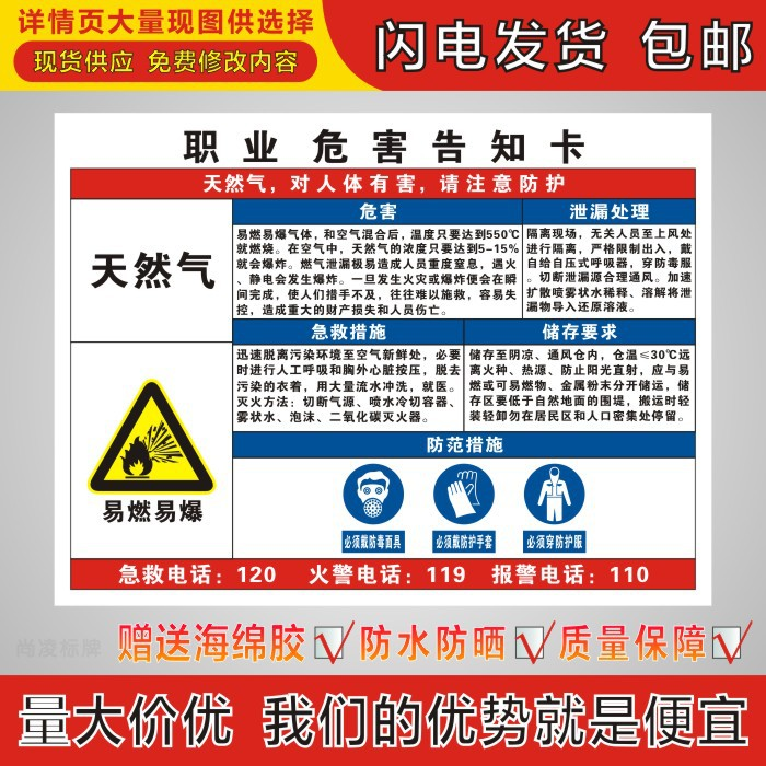 Natural gas inflammable and explosive occupational hazards notification card, Zhouzhi card, dangerous goods notice board, identification and warning board