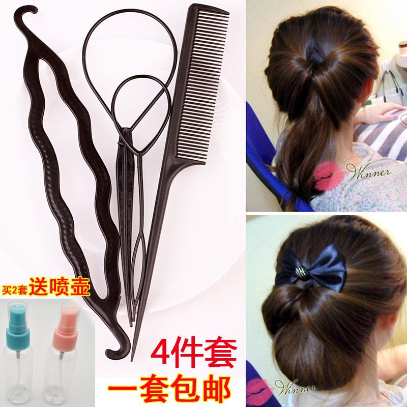 韩国发饰拉发针双钩梳子穿发棒扎发造型工具花苞丸子头盘发器套装