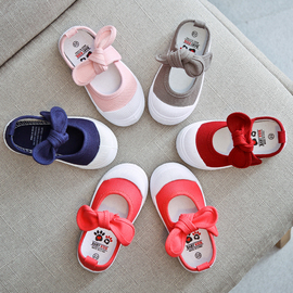 2020春秋季小孩新款女童帆布鞋蝴蝶结韩版公主鞋儿童休闲宝宝童鞋