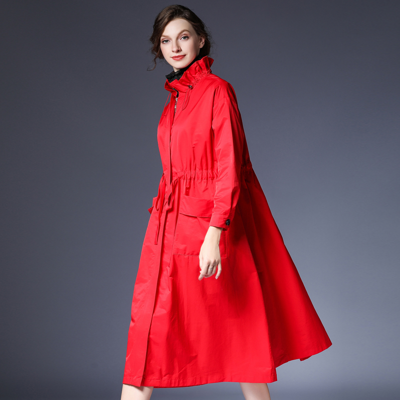 咫尺2020春装新款宽松中长款荷叶领拉链风衣女装大码休闲女外套春图片