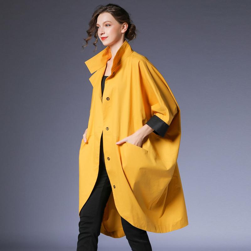 咫尺欧美中长款蝙蝠袖风衣女装大码显瘦立领长外套女2020春装新款图片