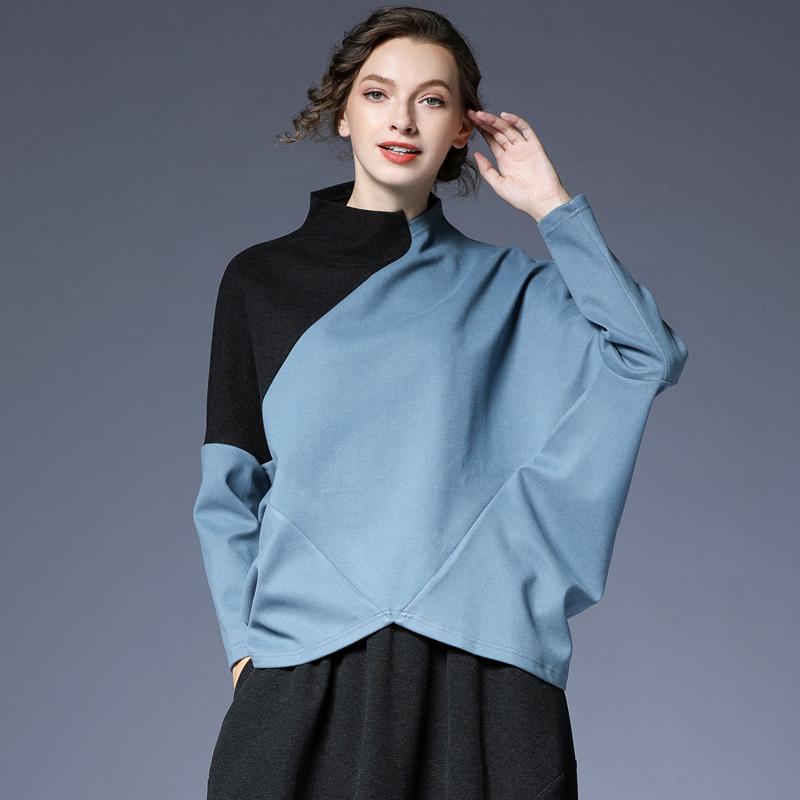 咫尺2021春装新款 宽松蝙蝠袖拼色针织T恤衫女装大码欧美风上衣女