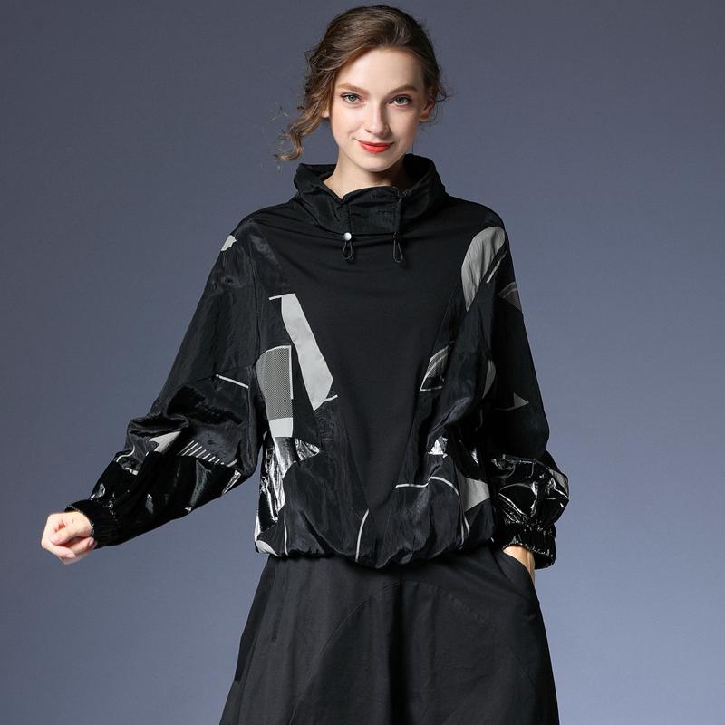 咫尺宽松蝙蝠袖印花立领女装短外套