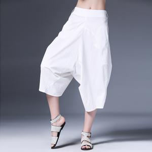 咫尺2021夏装新款女装显瘦白色七分阔腿裤休闲裤大码宽松哈伦裤子