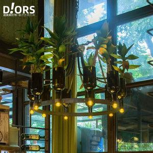 工业风音乐主题餐厅酒馆绿植软装吊灯酒吧咖啡厅个性酒瓶装饰灯具
