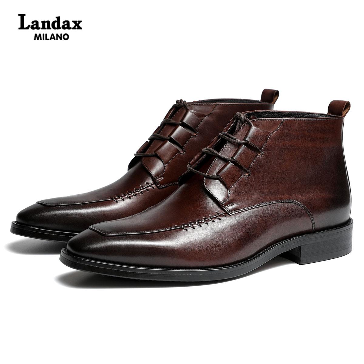 Landax牛皮新款男士切尔西靴 英伦时尚短靴手工商务男靴中帮马靴