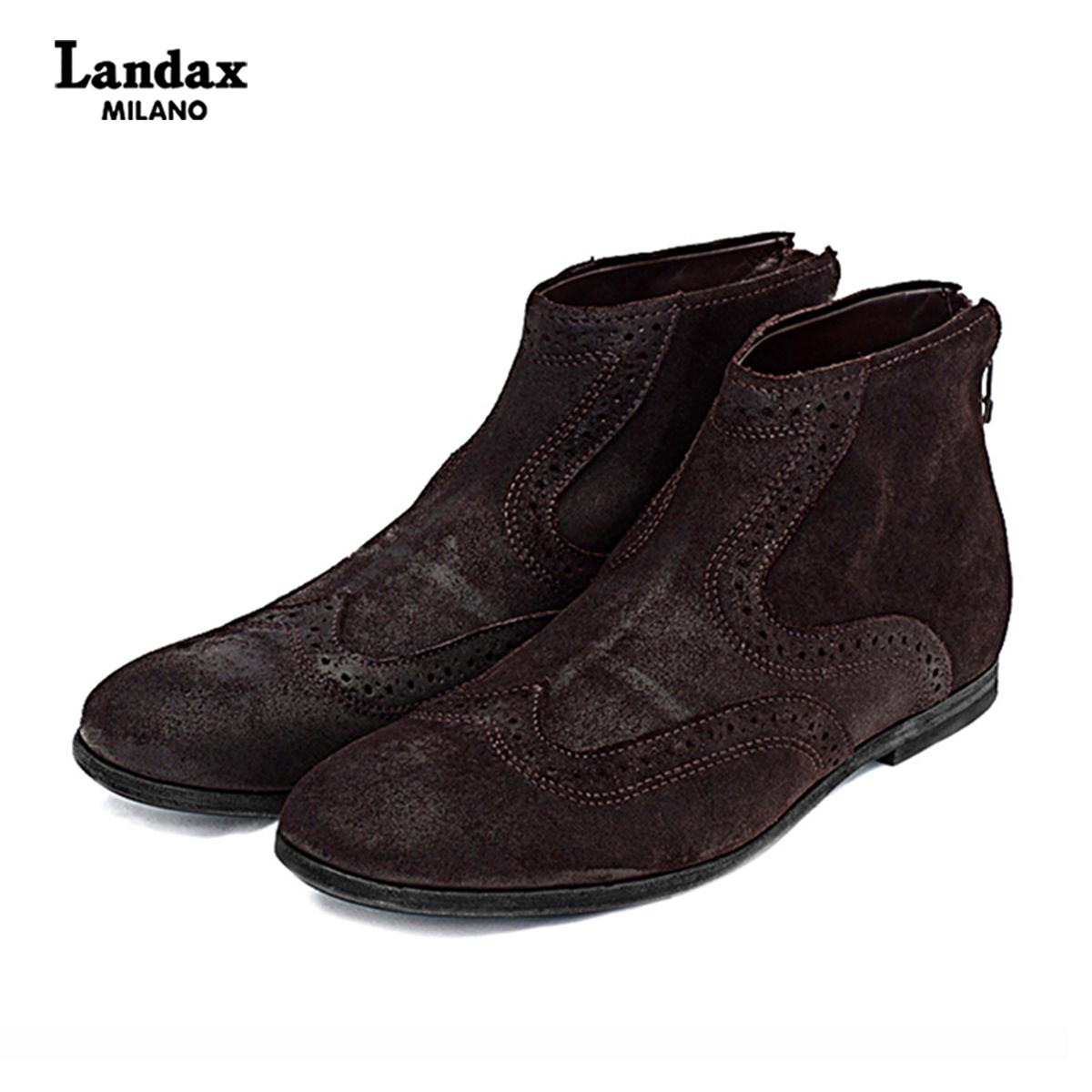 Landax新款切尔西男靴牛皮短靴男布洛克英伦男士皮靴复古英伦男靴
