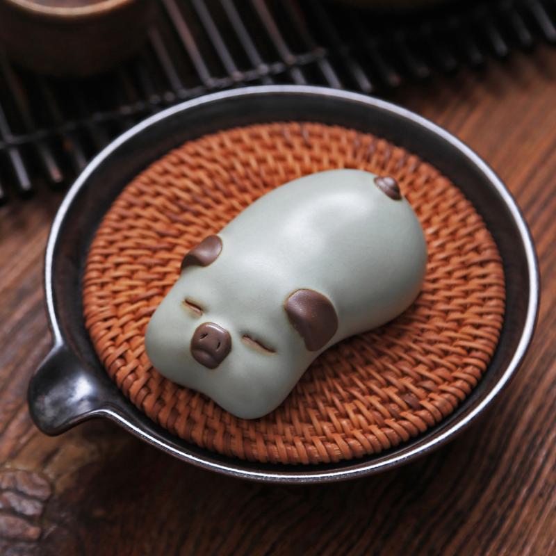 创意小乳猪茶宠开片可养茶道茶盘