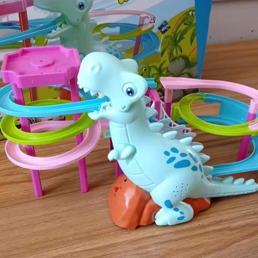 火車軌道玩具滑滑梯 益智兒童男孩女孩子 寶寶電動恐龍爬樓梯男生
