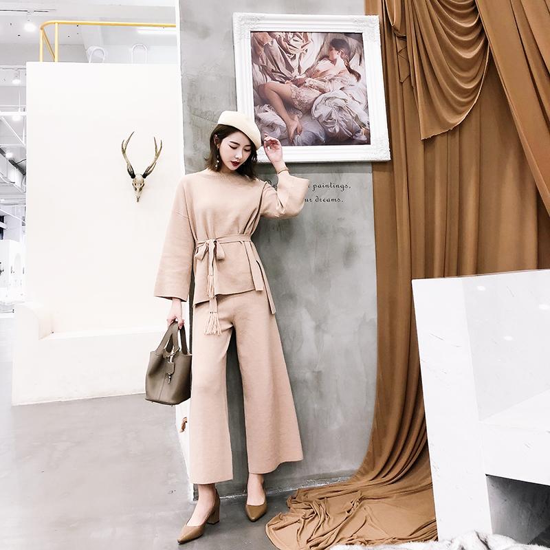 K姐自制 女神姐姐 三色可选气质系带纯色休闲针织上衣阔腿裤套装