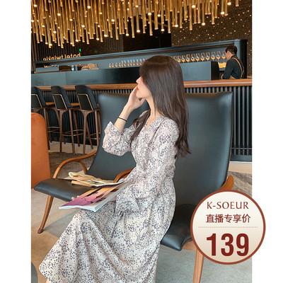 K姐自制【茶歇长裙】复合丝花瑶印花气质V领收腰显瘦雪纺连衣裙