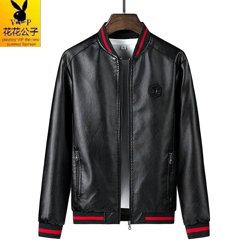 Playboy VIP new coat PU leather jacket mens slim casual youth thin fashion trend in spring and Autumn