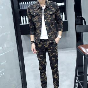 韩版男士牛仔套装男秋装外套长袖迷彩服牛仔夹克修身青年男装帅气