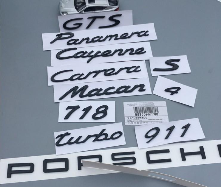 保时捷车标 MACAN 帕拉梅拉Cayenne Turbo卡宴S标后尾贴标黑色