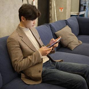 冬季休闲毛呢西装男上身羊毛西服外套格子韩版男士小西装单件上衣
