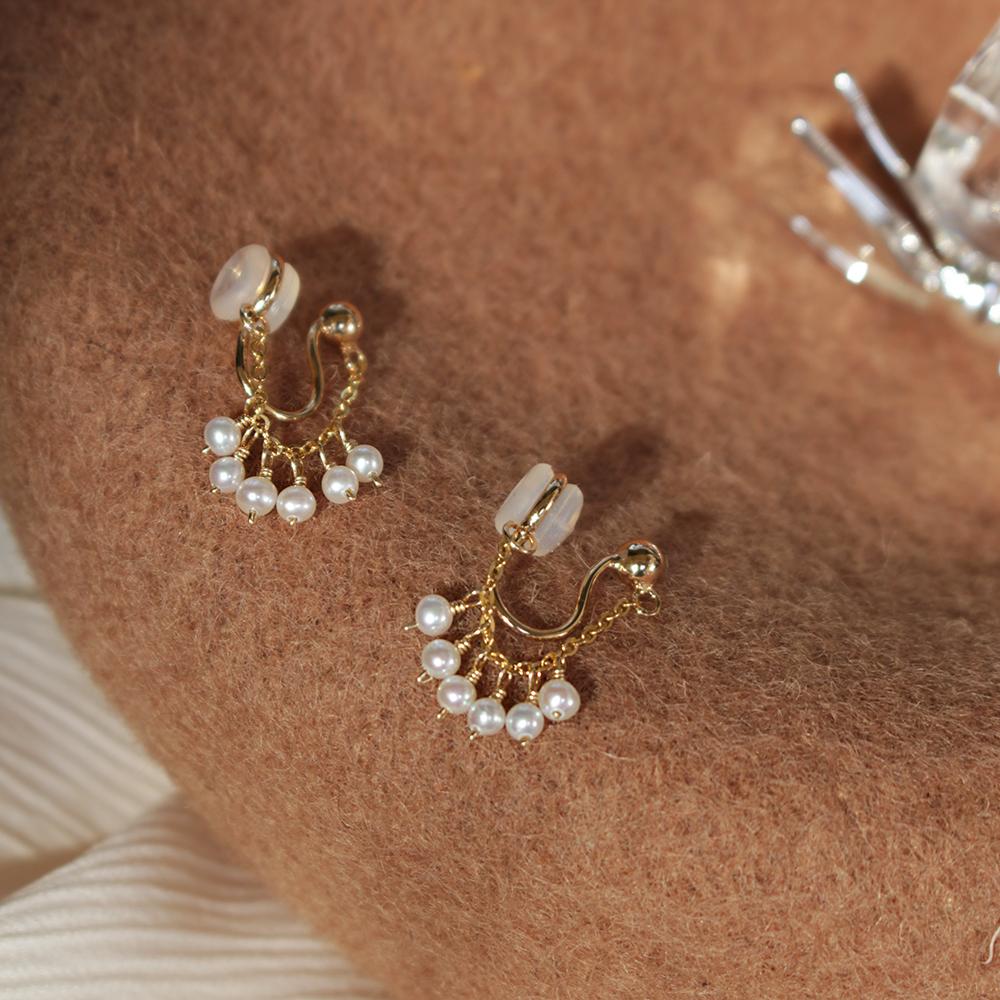纯银精致 天然淡水迷你珍珠耳夹 无痛无耳洞硅胶蚊香盘耳夹 女图片