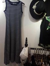 女装2017夏季新款韩版显瘦长裙A字条纹背心连衣裙简约气质