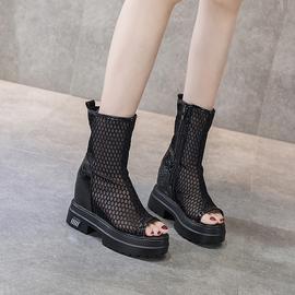 内增高短靴女厚底透气镂空网靴2021年新款网纱侧拉链高跟鱼嘴凉靴