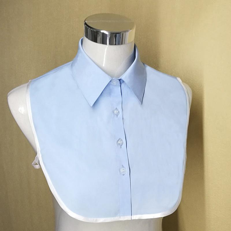 蓝色假衬衣领女假领子百搭衬衫领男卫毛衣装饰夏季内搭薄款娃娃领