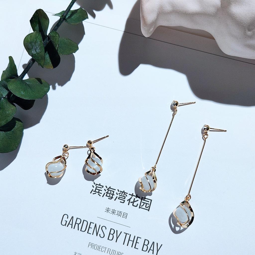 925 silver needle water drop Opal Earrings Korean new style net red 14K genuine gold earrings