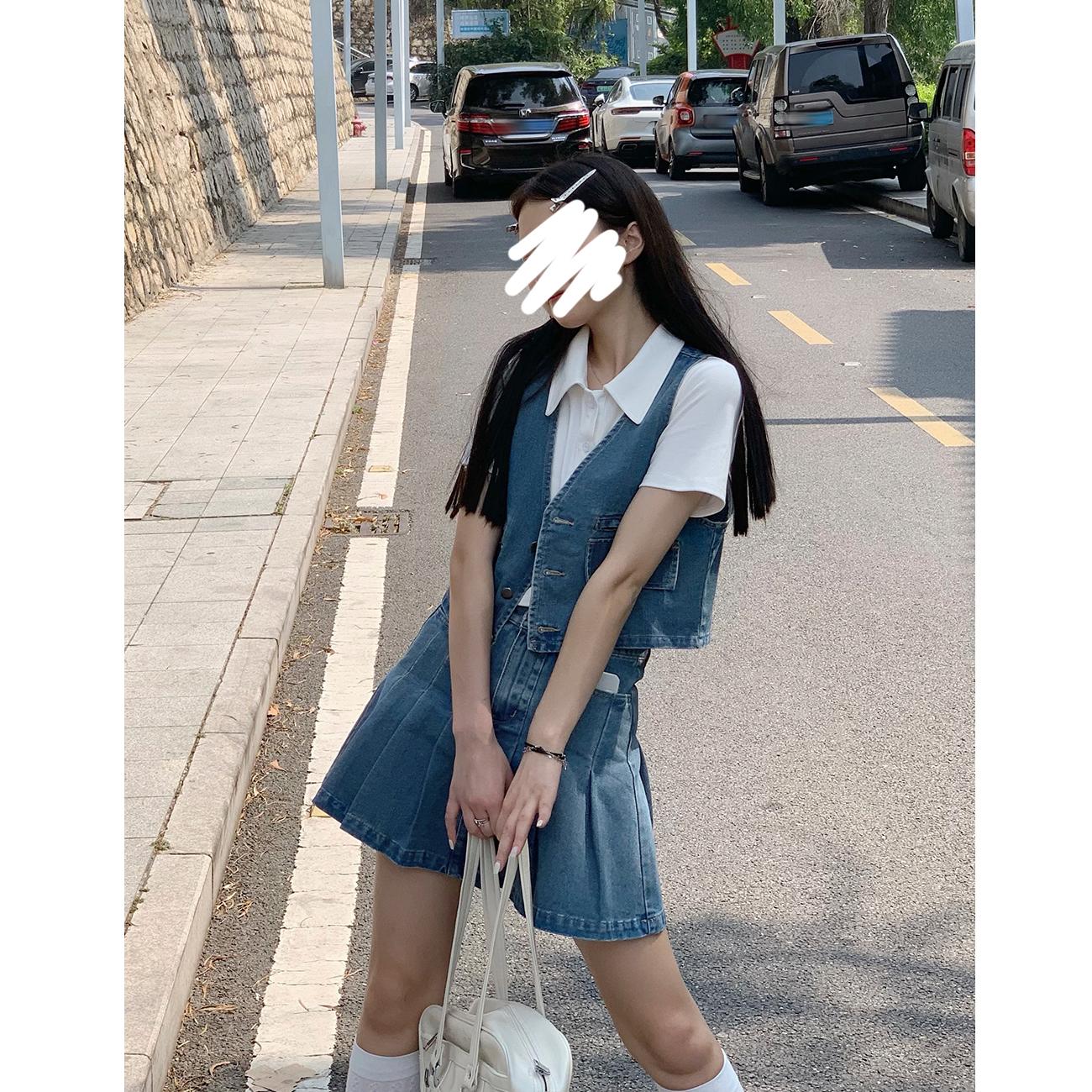 財哥牛仔套装女夏2021年新款洋气时尚短款马甲百褶短裙减龄两件套