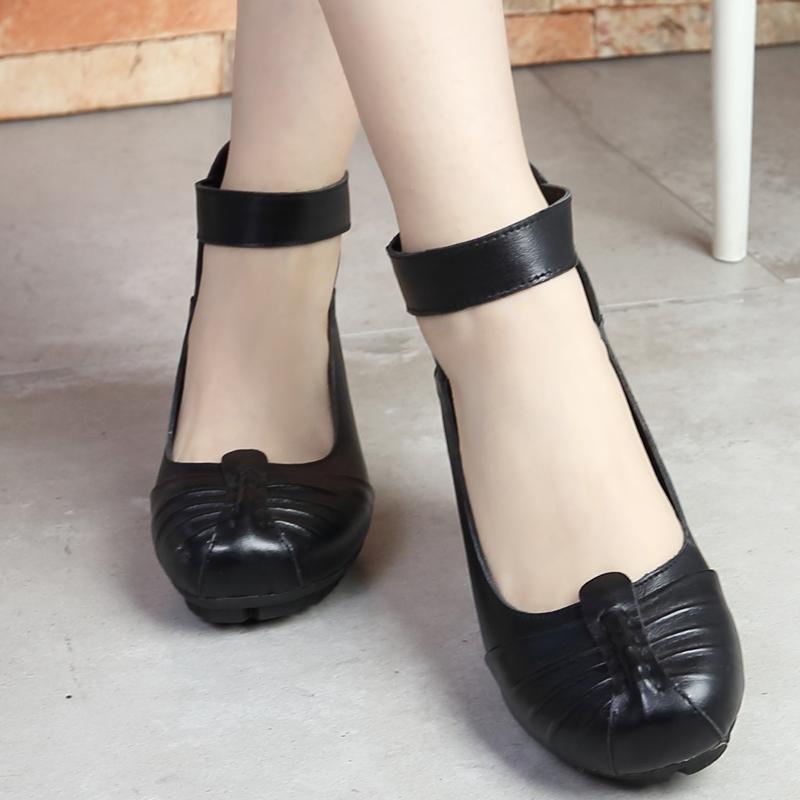 春秋民族风女鞋真皮软底妈妈鞋中老年黑色女小皮鞋浅口中跟女单鞋