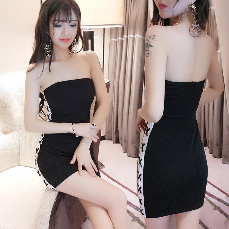 网红yy性感主播衣服女装夏季小礼服一字肩夜店女王抹胸包臀短裙子