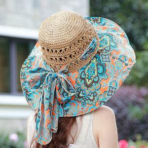 帽子女士韩版夏天防晒太阳帽防紫外线遮阳帽沙滩帽折叠防晒帽草帽