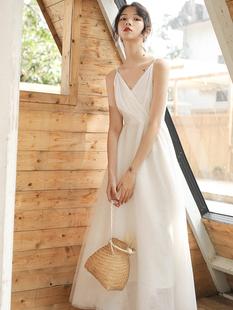 2020春夏新款法式復古白色仙女吊帶網紗連衣裙海邊度假沙灘長裙子