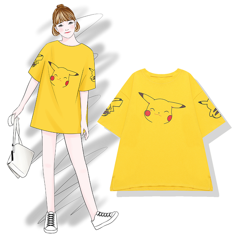 芭那那  比卡丘 卡通T恤女2018夏季新款中长款宽松韩版黄色短袖