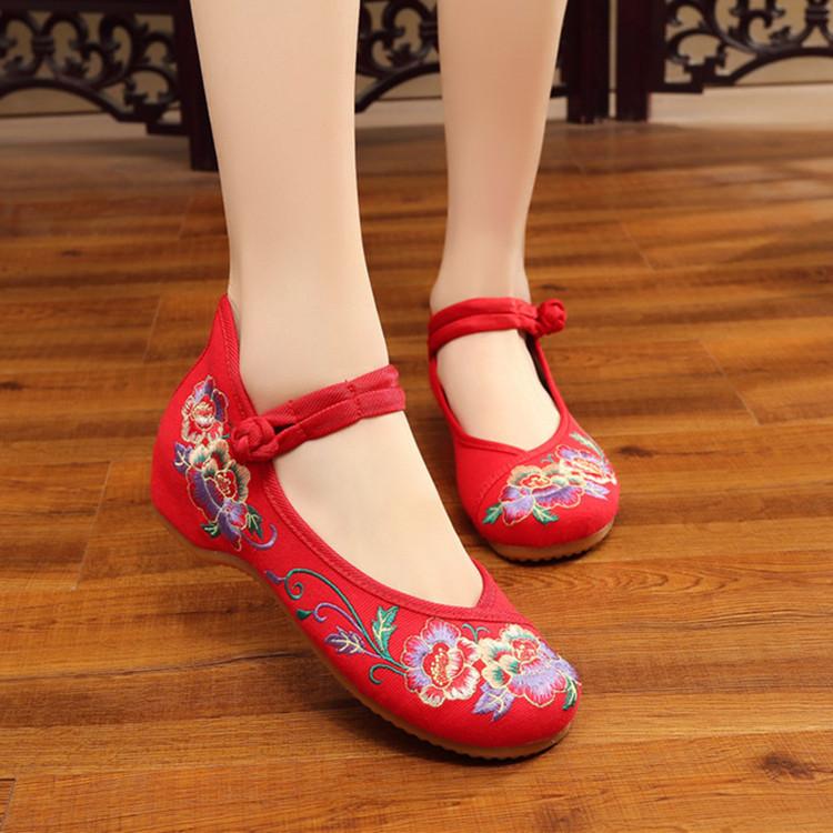 步绣缘(如花似锦)夏款新品加厚底优雅内增高民族风女单绣花布鞋