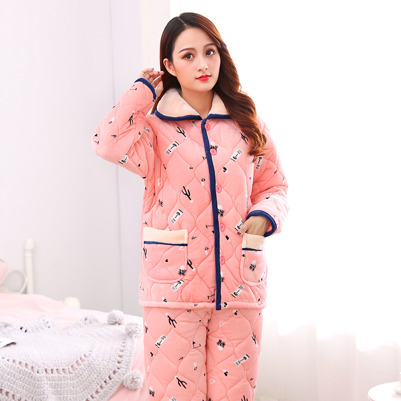 Womens winter pajamas three layers of thickened warm coral velvet with cotton flannel