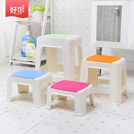 好爾塑料小凳子家用加厚客廳浴室板凳簡約方凳兒童矮凳可疊放高凳圖片