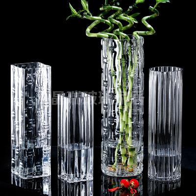 特大号富贵竹花瓶透明玻璃加厚电炉50cm水培水养客厅落地桌面摆件