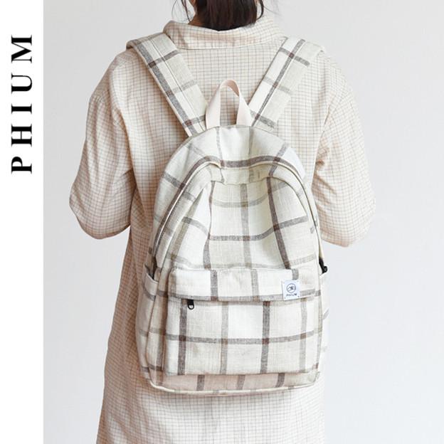 书包女简约韩版高中大学生森系格子背包古着感少女校园帆布双肩包49.90元包邮