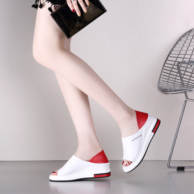 Two sandals womens summer new thick bottom versatile leisure muffin fish mouth small white shoes soft bottom beach shoes