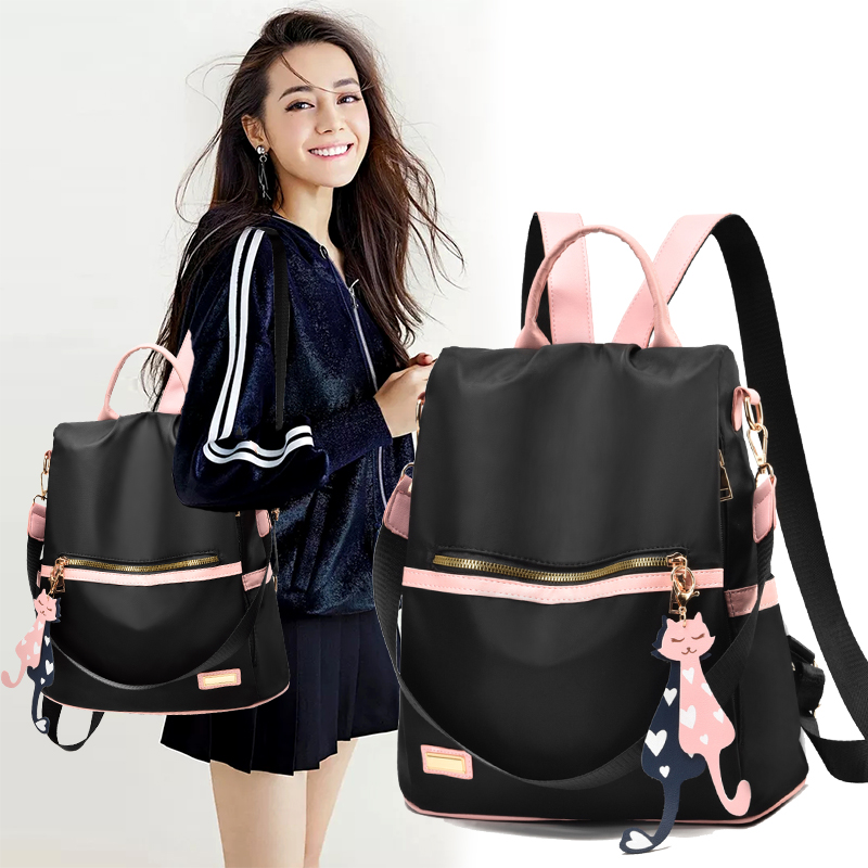 Waterproof and anti-theft 2020 new double shoulder bag womens fashion versatile single shoulder bag three use womens Backpack Travel bag womens fashion