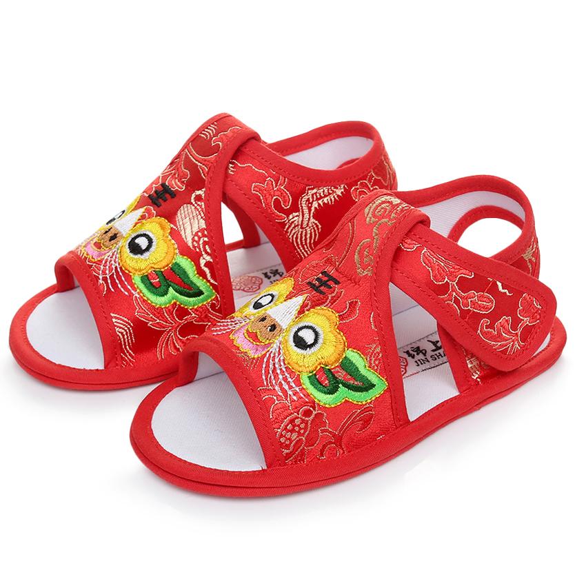 男女宝宝虎头鞋夏季凉鞋手工婴儿老虎鞋子虎头凉鞋百天周岁学步鞋