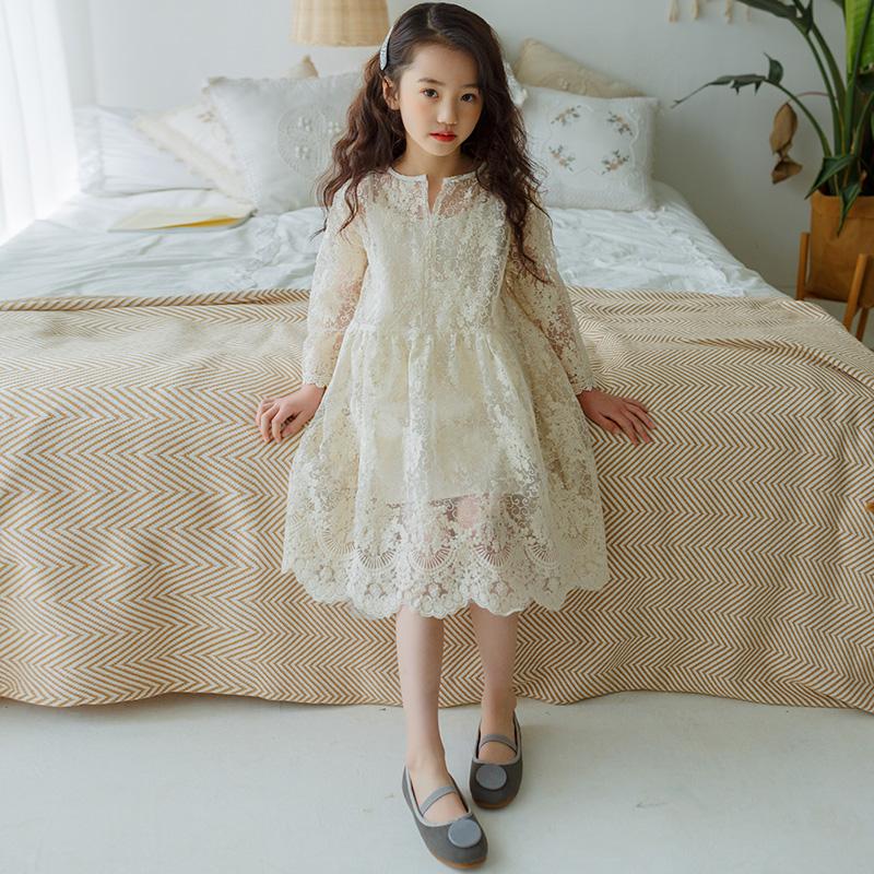 女童连衣裙2020新款春夏儿童洋气蕾丝裙中大童韩版长袖超仙公主裙