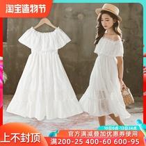 儿童裙子韩版夏2020新款夏季一字肩洋气网纱公主裙女童蕾丝连衣裙