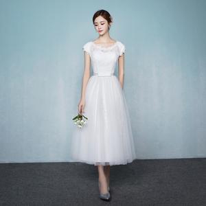 宴会晚礼服白色伴娘服中长款2017新款韩版修身连衣裙伴娘姐妹裙女