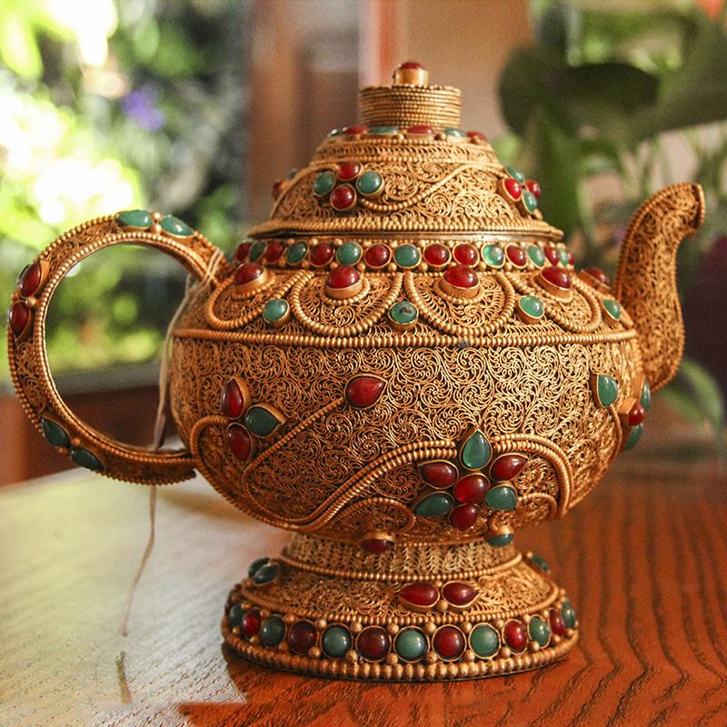 尼泊尔纯手工净水壶掐丝镶嵌宝石酒壶藏式茶壶吉祥八宝酒水壶摆件