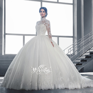 Luxury wedding palace retro long-sleeved high-necked lace trailing Pompon wedding dress2016 A new word
